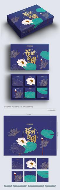 原创复古时尚荷花中秋月饼包装设计