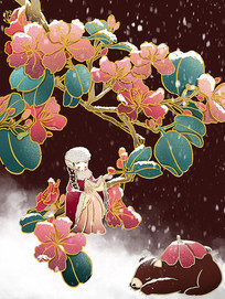 原创 汉服女孩穿棉袄扶花节气冬天国潮卡通
