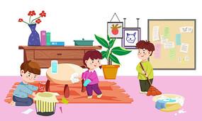 原创卡通儿童劳动打扫卫生擦桌子PSD
