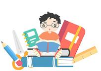 原创卡通教育坐在书堆里的小朋友PSD