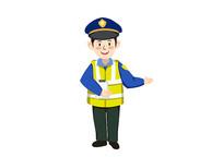 原创手绘插画交通安全交警人物素材PSD