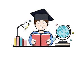 原创手绘带学士帽学生看书教育场景PSD