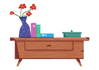 原创手绘柜子花瓶摆件室内装饰素材PSD