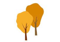 原创手绘黄色秋天的树植物素材AI