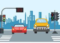 原创手绘交通安全教育车辆红绿灯素材PSD