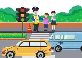 原创手绘卡通儿童交通安全教育素材PSD