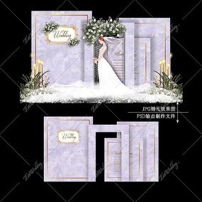 紫色大理石主题婚礼效果图设计婚庆背景