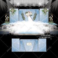 白蓝色大理石婚礼效果图设计婚庆舞台背景