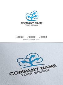 简约树型数据科技造型logo设计