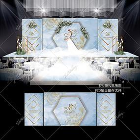 蓝色系大理石婚礼效果图设计婚庆舞台背景