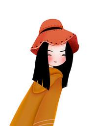 原创可爱卡通带帽美女回眸一笑