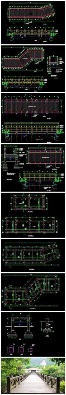园林景观木桥CAD施工图(含结构)