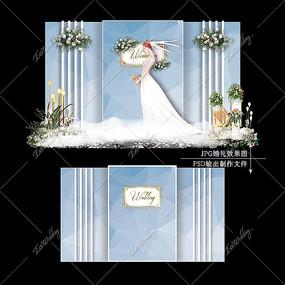 白蓝色婚礼效果图设计婚庆迎宾区背景