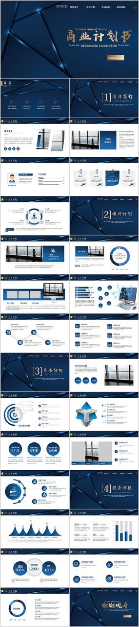 蓝色高端商业投资融资项目计划书ppt模板