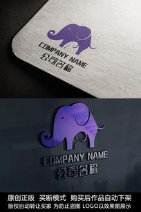 两只大象logo标志商标设计