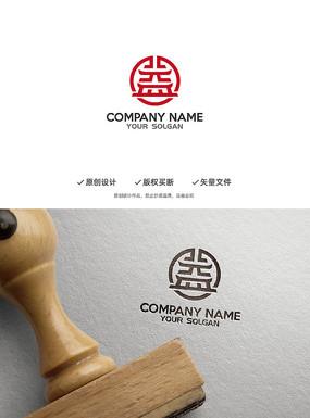 中国风益字古楼造型设计企业标志logo