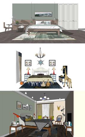 北欧卧室空间SU模型设计