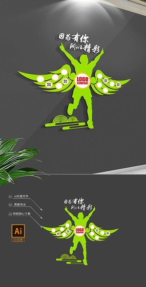 翅膀心形员工风采企业文化墙