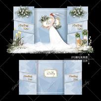 蓝色大理石婚礼效果图设计婚庆迎宾区背景