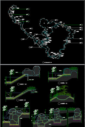 水池景观桥景观柱CAD施工图详图做法
