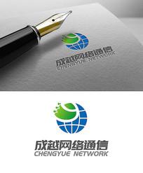网络地球简约logo设计