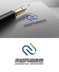 网络蓝色简约logo设计