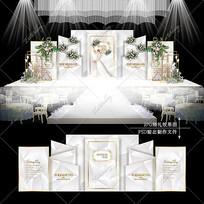 大理石婚礼效果图设计莫兰迪色婚庆舞台背景