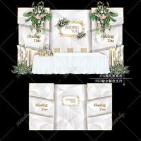 大理石婚礼效果图设计莫兰迪色系婚庆迎宾区