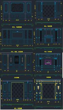 背景墙标准模块CAD