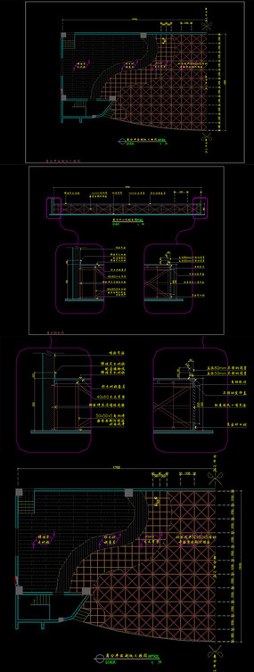 工装钢结构舞台cad节点图纸