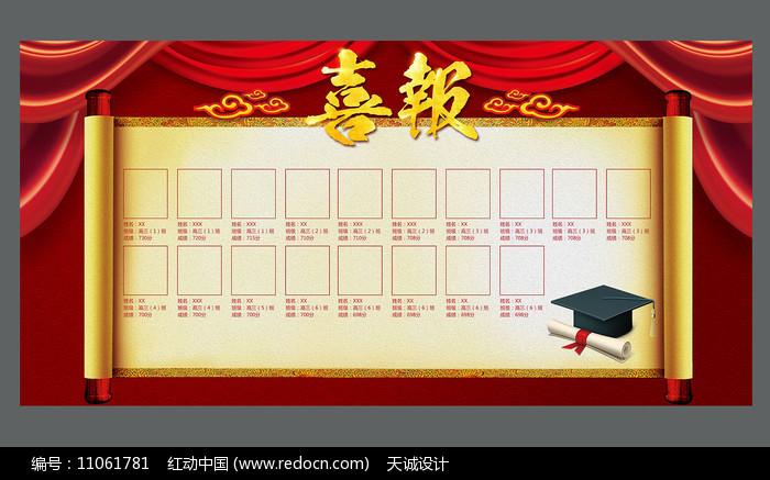 红色喜庆高考喜报金榜题名展板图片