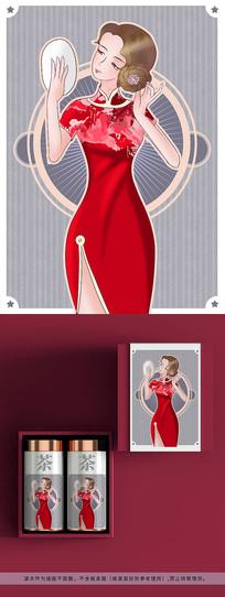 红色优雅旗袍美女插画