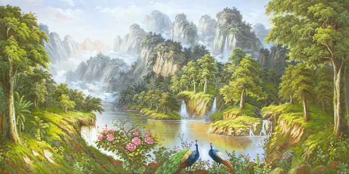 绿色山水瀑布流水背景墙