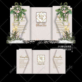 莫兰迪色系婚礼效果图设计大理石婚庆迎宾区