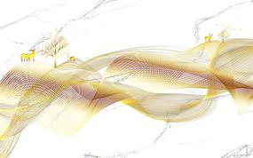 新中式抽象黄金线条发财树纹理大理石背景墙