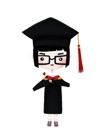 原创毕业季短发带眼镜博士服毕业生