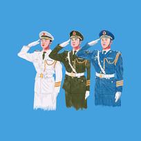 原创三军仪仗兵敬礼水彩画