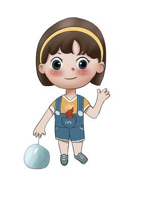 原创手绘插画卡通可爱小女生玩耍