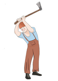 原创手绘插画卡通人物装修工人元素