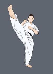 原创手绘插画跆拳道元素