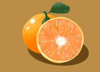 原创手绘插画水果脐橙元素