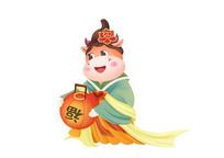插画卡通新年春节牛年形象灯笼素材