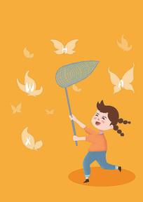 原创手绘插画抓蝴蝶的女孩元素
