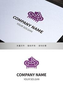 紫色葡萄酒类标识设计