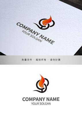缠绕火焰造型品牌标志设计
