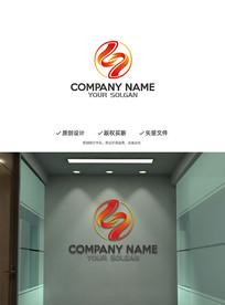 创意中字彩带企业标志设计