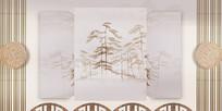 复古水墨画背景墙