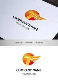 红日飞翔元素商务服务IT类标志设计
