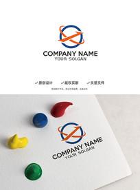 环球旅游飞行X字母造型logo