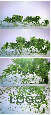 绿色环保叶子LOGO文字视频模板